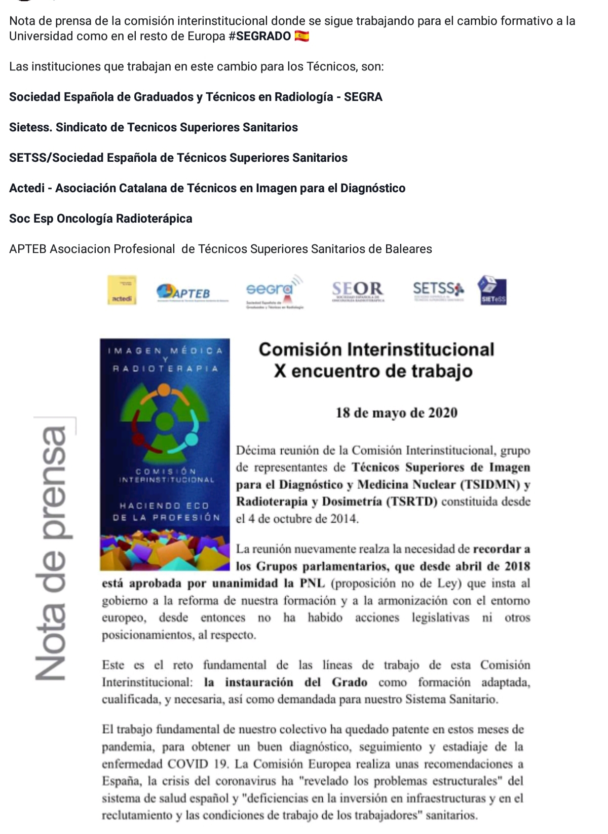 Nota de prensa de la comisión interinstitucional donde se sigue trabajando para el cambio formativo a la Universidad como el resto de Europa. 18 de mayo de 2020